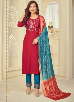 Red Printed Salwar Suit With Dupatta