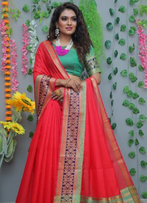 Red Pure Cotton Silk Weaving Saree