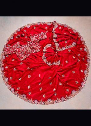 Red Rajwadi Silk Sequence Saree