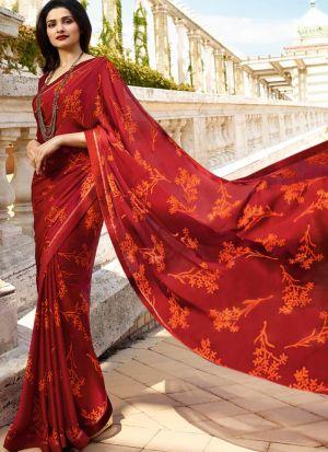 Red Rangoli Silk Printed Bollywood Style Saree