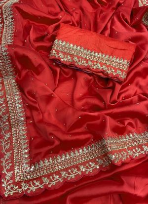 Red Rangoli Silk Sequence Saree