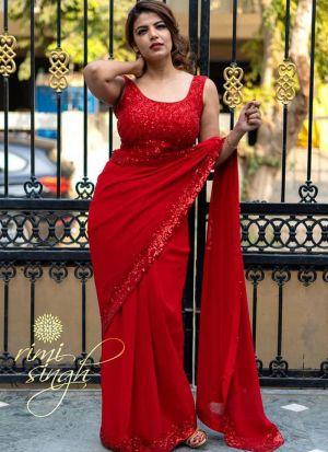 Red Rangoli Silk Wedding Wear Sequence Work Saree