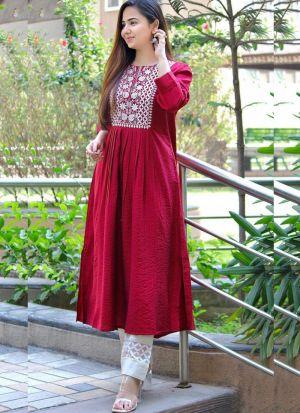 Red Rayon Cotton Salwar Suit