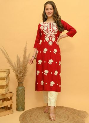 Red Rayon Embroidery Work Suit