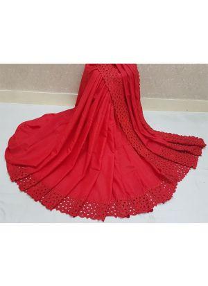 Red Reniya Cutwork Makhan Malai Silk Designer Saree
