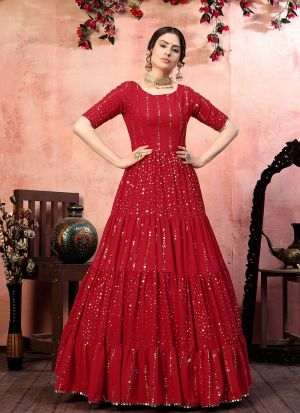 Red Sequence Work Gown For Party