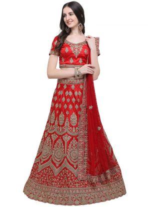 Red Silk Indian Wedding Lehenga Choli