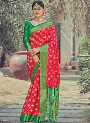 Red Silk Weaving Party Wear Saree