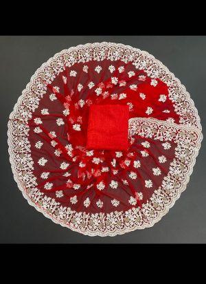 Red Soft Nylon Mono Net Saree