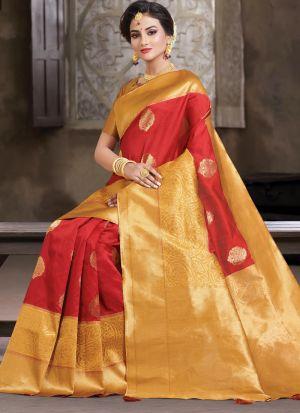 Red South Indian Crystal Silk Designer Saree