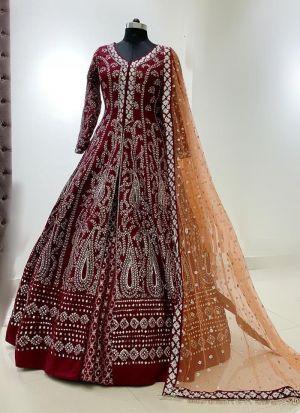 Red Taffeta Silk Festive Wear Lehenga