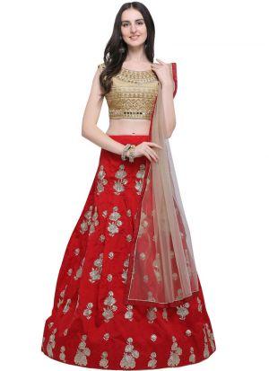 Red Taffeta Silk Indian Wedding Lehenga Choli