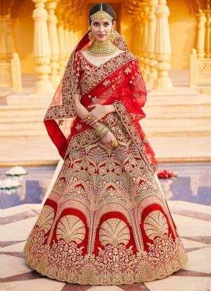 Red Velvet Embroidered Bridal Lehenga Choli