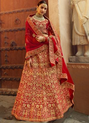 Red Zari Work Bridal Wedding Wear Pure Velvet Lehenga Choli