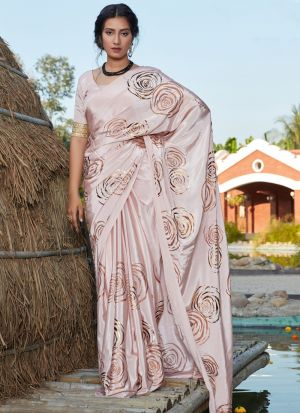 Refreshing Baby Pink Foil Printed Silk Saree