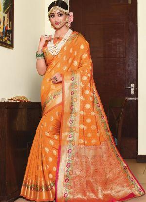 Refreshing Look Orange Thread Work Saree
