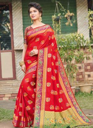 Refreshing Look Red Thread Work Saree