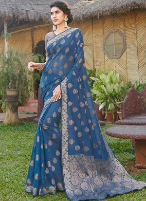 Refreshing Look Teal Blue Thread Work Saree