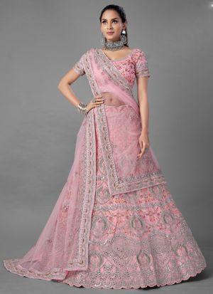 Refreshing Pink Soft Net Lehenga With Zarkan Work
