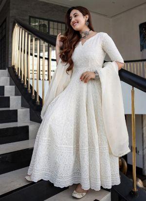 Refreshing White Chain Stitch Work Anarkali Gown