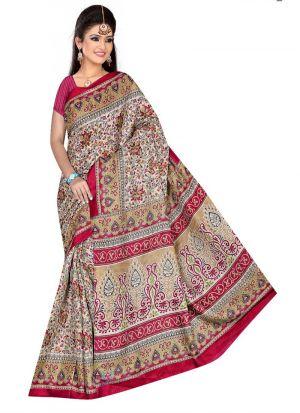 Rice Silk Multi Color Printed Saree