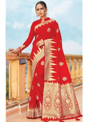 Rose Red Traditional South Indian Wedding Pure Silk Saree