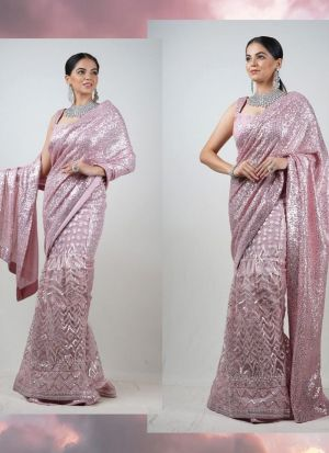Rosy Brown Georgette Captivating Saree