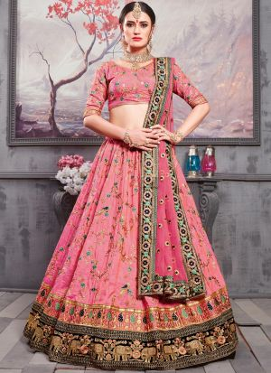 Rouge Pink Banarasi Silk Designer Bridal Lehenga With Bridal Net Dupatta