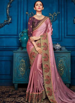 Rouge Pink Dola Silk Traditional Wear Saree