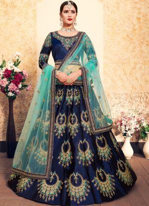 Royal Blue Embroidered Designer Lehenga Choli For Wedding