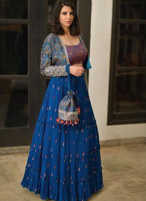 Royal Blue Georgette Lehenga Choli With Designer Koti