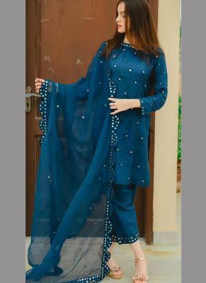 Royal Look Navy Georgette Bamberg Festive Wear Salwar Suit