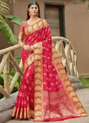 Ruby Pink Cotton Festive Wear Saree
