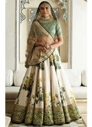 Sabyasachi Mukherjee Art Silk Designer Wedding Wear lehenga Choli In Multi Color