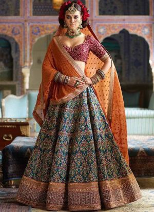 Sabyasachi Mukherjee Banarasi Silk Bridal Lehenga Choli In Blue Color