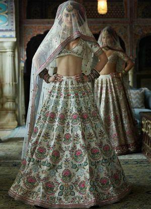 Sabyasachi Wedding Off White Heavy Flair Indian Lehenga Choli