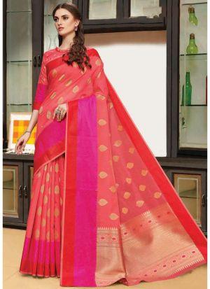 Salmon Linen Silk Festive Wear Classy Saree