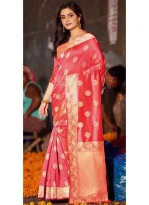 Salmon Pink Pure Silk Designer Traditional Saree For Wedding