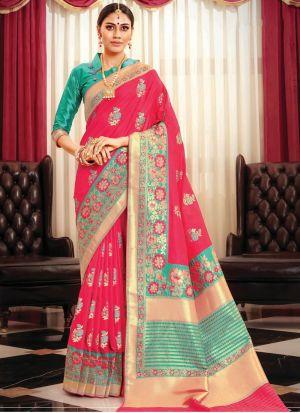 Salmon Red Designer Banarasi Silk Saree Collection