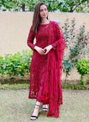 Sana Javed Red Georgette Silk Salwar Suit