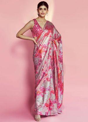 Sanjana Sanghi Light Magenta Silk Saree