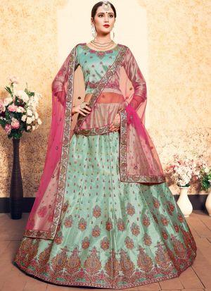 Sea Green Embroidered Designer Bridal Lehenga Choli