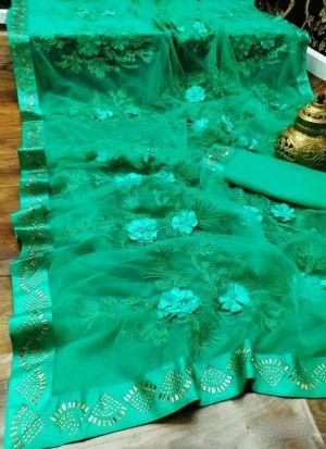 Sea Green Soft Mono Nylon Net Saree
