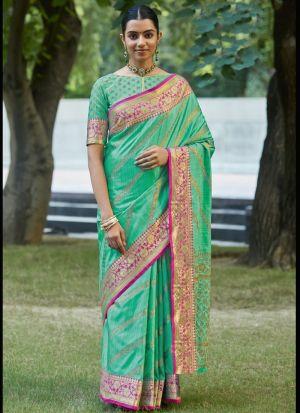 Seafoam Green Weaving Silk Saree