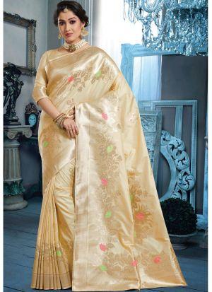 Self Design Banarasi Pure Silk Beige Indian Saree