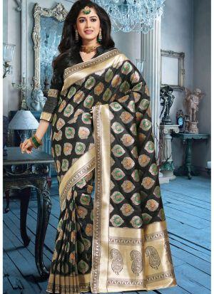 Self Design Banarasi Pure Silk Black Indian Saree