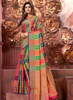 Self Design Banarasi Pure Silk Multi Color Glorious Indian Saree