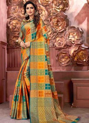 Self Design Banarasi Pure Silk Multi Color Indian Saree