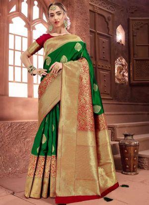 Self Design Crystal Silk Green Indian Saree