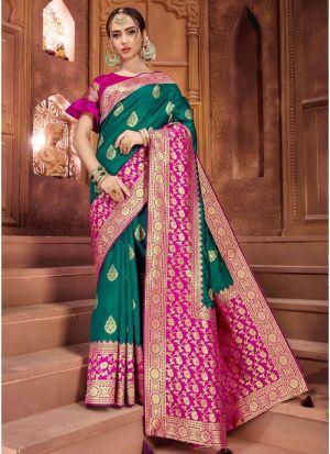 Self Design Crystal Silk Rama Indian Saree